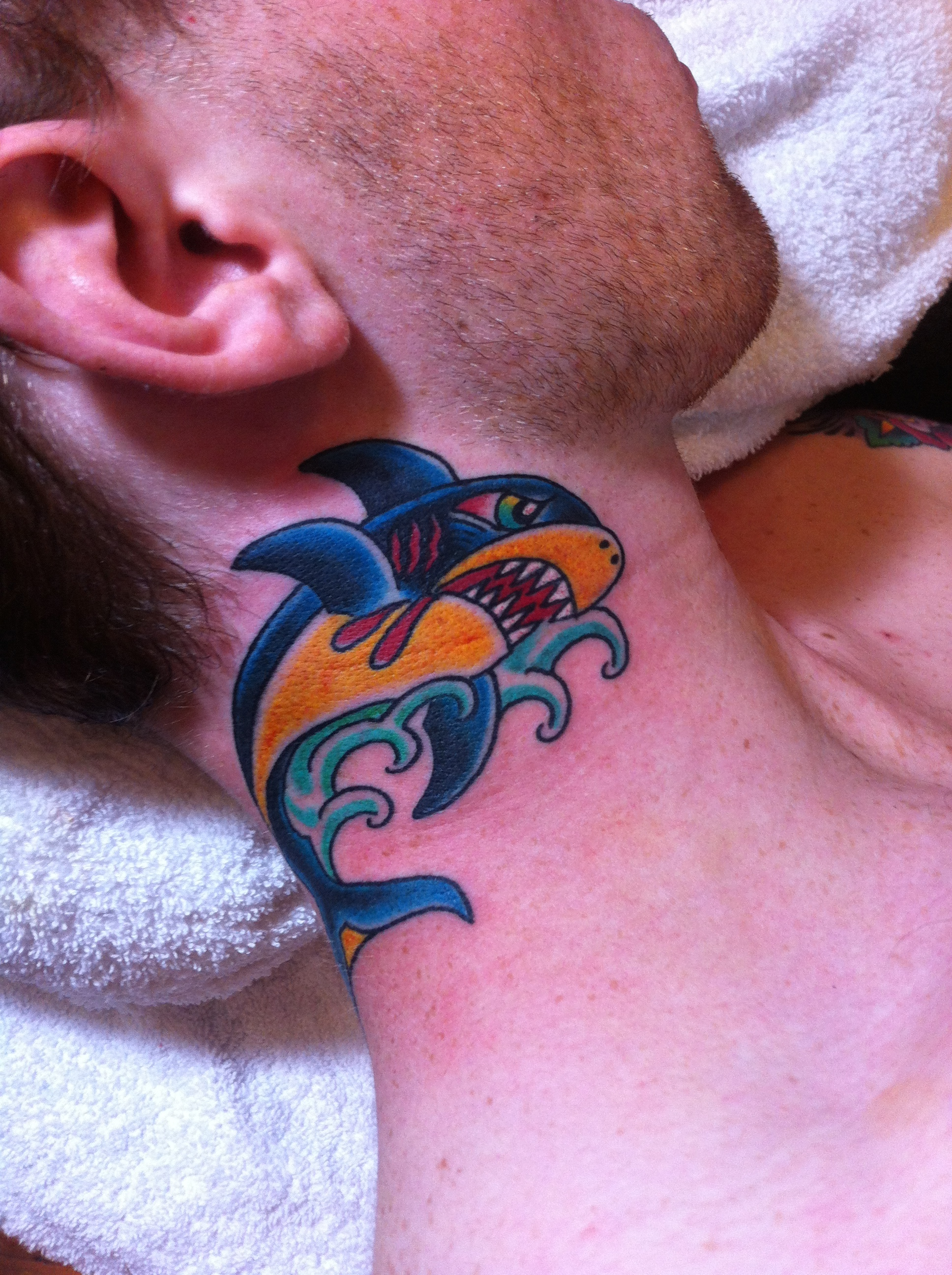 Neck Shark Tattoo by Tyson Arndt